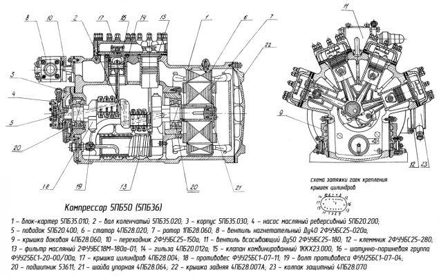 Холодильный компрессор 5ПБ50 (5ПБ36)
